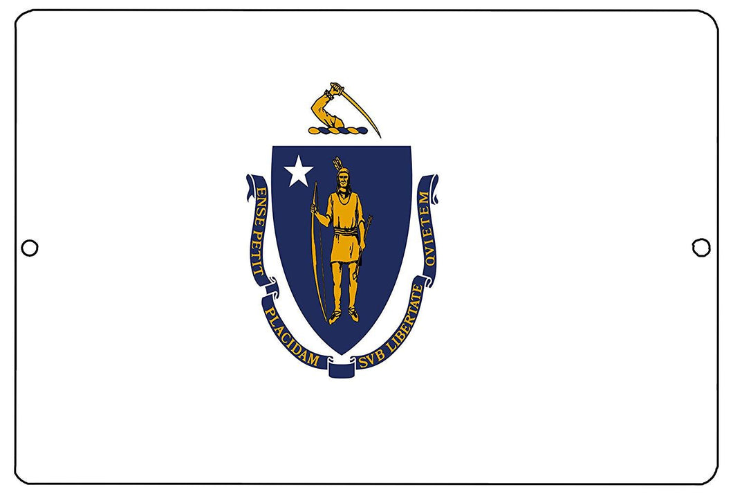 Massachusetts State Flag Metal Tin Sign Wall Decor Man Cave Bar MA - Flag Signs - Rogue River Tactical  - Rogue River Tactical