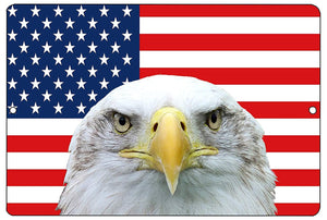 USA American Eagle Flag Metal Tin Sign Wall Decor Man Cave Bar US United States - Patriotic Signs - Rogue River Tactical  - Rogue River Tactical