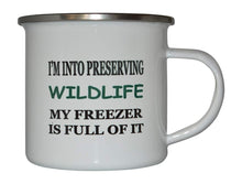 Funny Hunting Camp Mug Enamel Camping Coffee Cup Gift Preserving Wildlife Hunter Hunt - Camp Mugs - Rogue River Tactical  - Rogue River Tactical