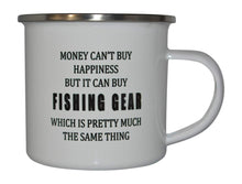 Funny Fishing Camp Mug Enamel Camping Coffee Cup Gift Money Happiness Fishing Gear Fisherman Fish - Camp Mugs - Rogue River Tactical  - Rogue River Tactical