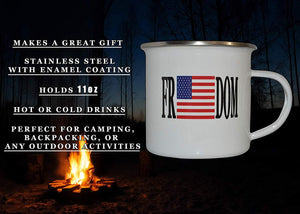 USA Freedom Flag Camp Mug Enamel Camping Coffee Cup Gift For Military Veteran or Patriotic American - Camp Mugs - Rogue River Tactical  - Rogue River Tactical