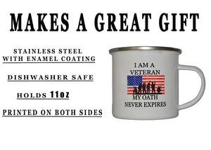 Military Veteran Oath Camp Mug Enamel Camping Coffee Cup Gift For Vet - Camp Mugs - Rogue River Tactical  - Rogue River Tactical