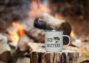 Funny Fishing Camp Mug Enamel Camping Coffee Cup Gift Size Matters Fisherman Fish - Camp Mugs - Rogue River Tactical  - Rogue River Tactical
