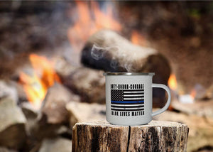 The Thin Blue Line Flag Camp Mug Enamel Camping Coffee Cup Gift Police Officers Law Enforcement - Camp Mugs - Rogue River Tactical  - Rogue River Tactical