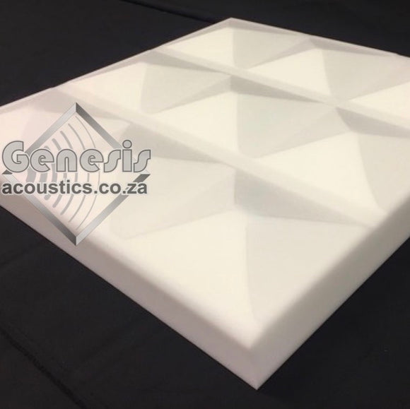 Industro-Foam Pyramid Profile Tiles: White Acoustic Foam / m²