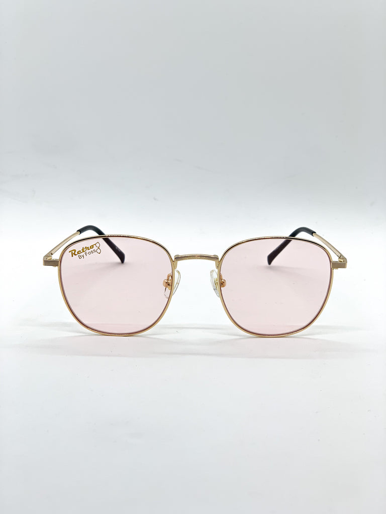 Light pink retro glasses fom the front
