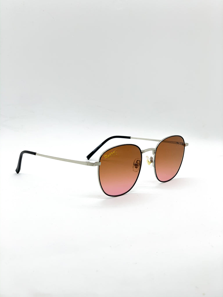 Light brown retro glasses fom a side