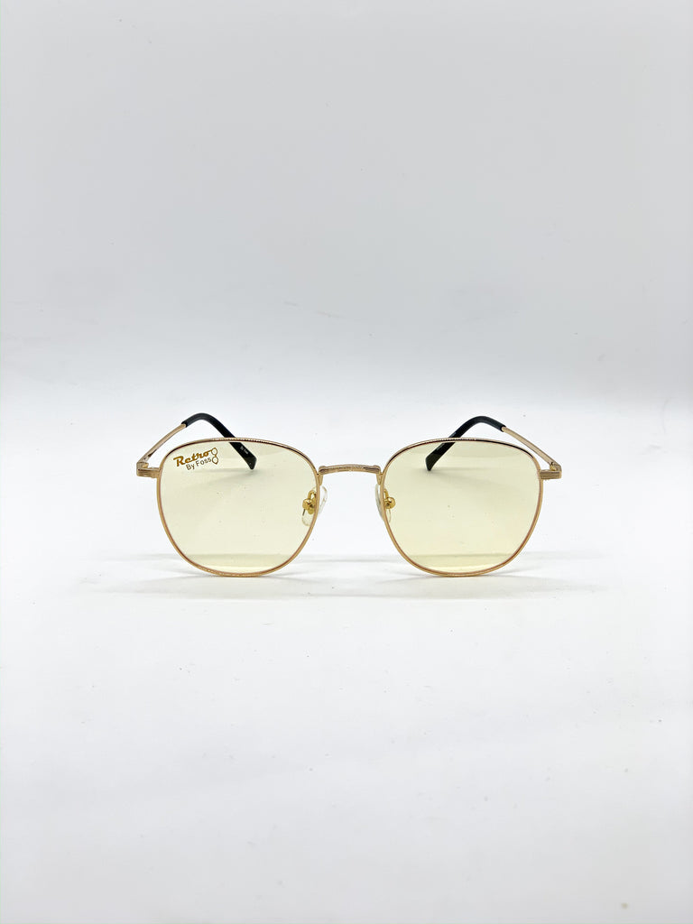 Light yellow retro glasses fom the front
