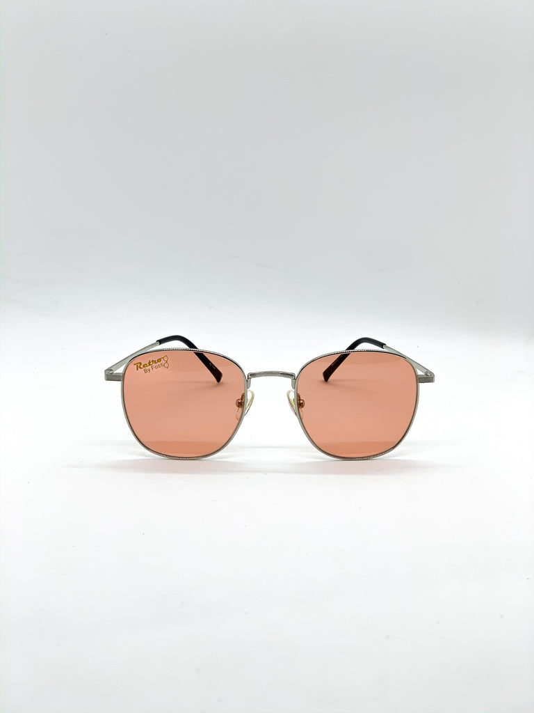 Light orange retro glasses fom the front