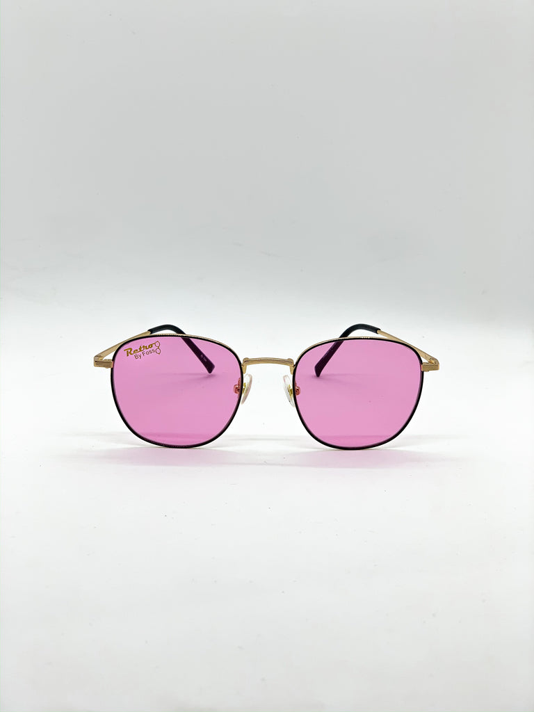 Pink retro glasses fom the front