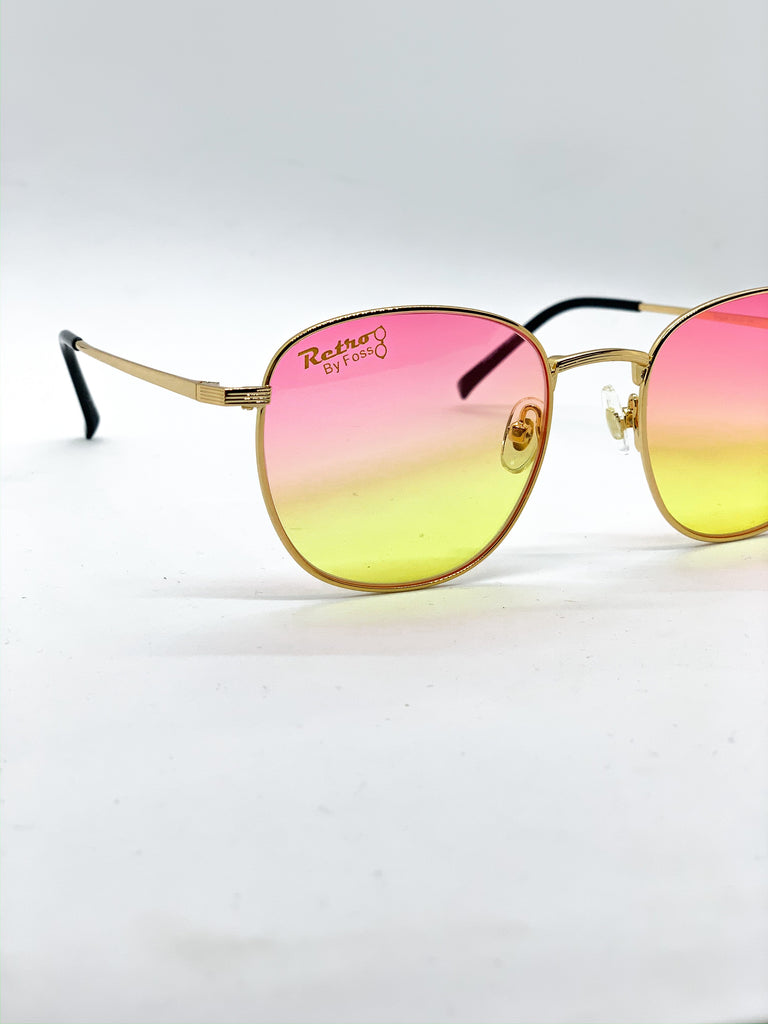 Pink & yellow glasses detail