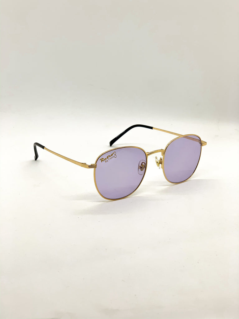 Violet retro glasses fom a side