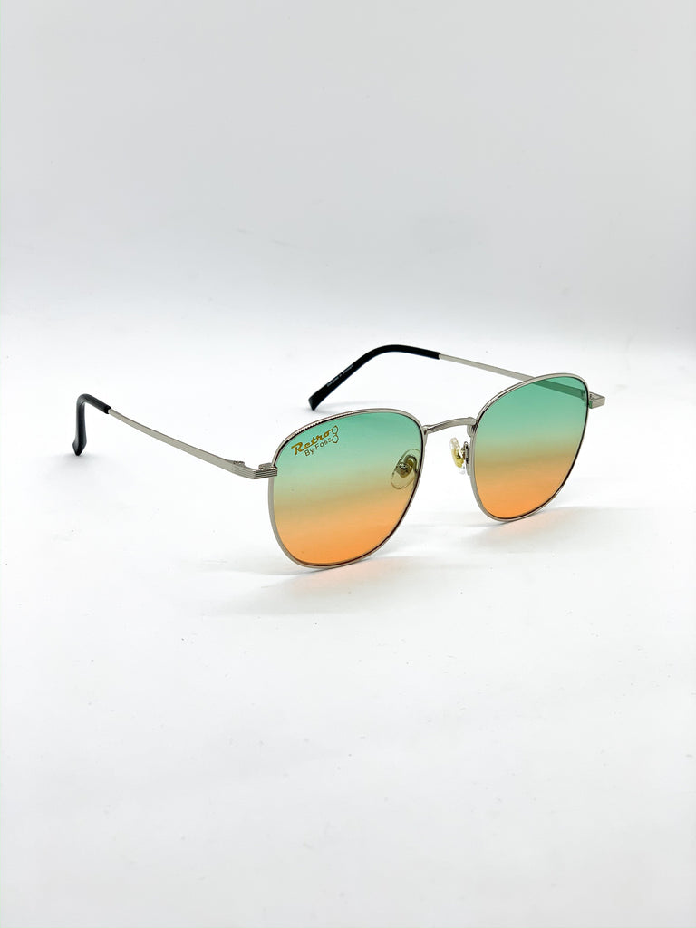 Green & orange retro glasses fom a side