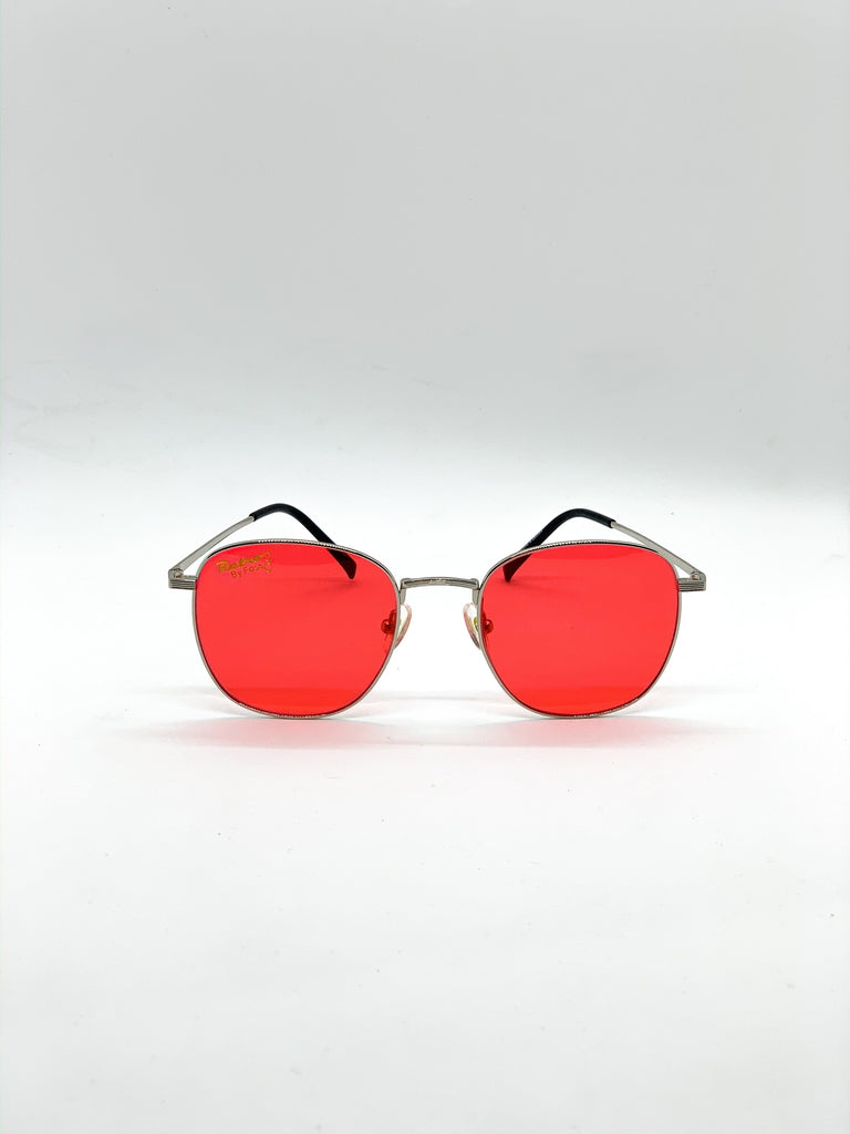 Red retro glasses fom the front