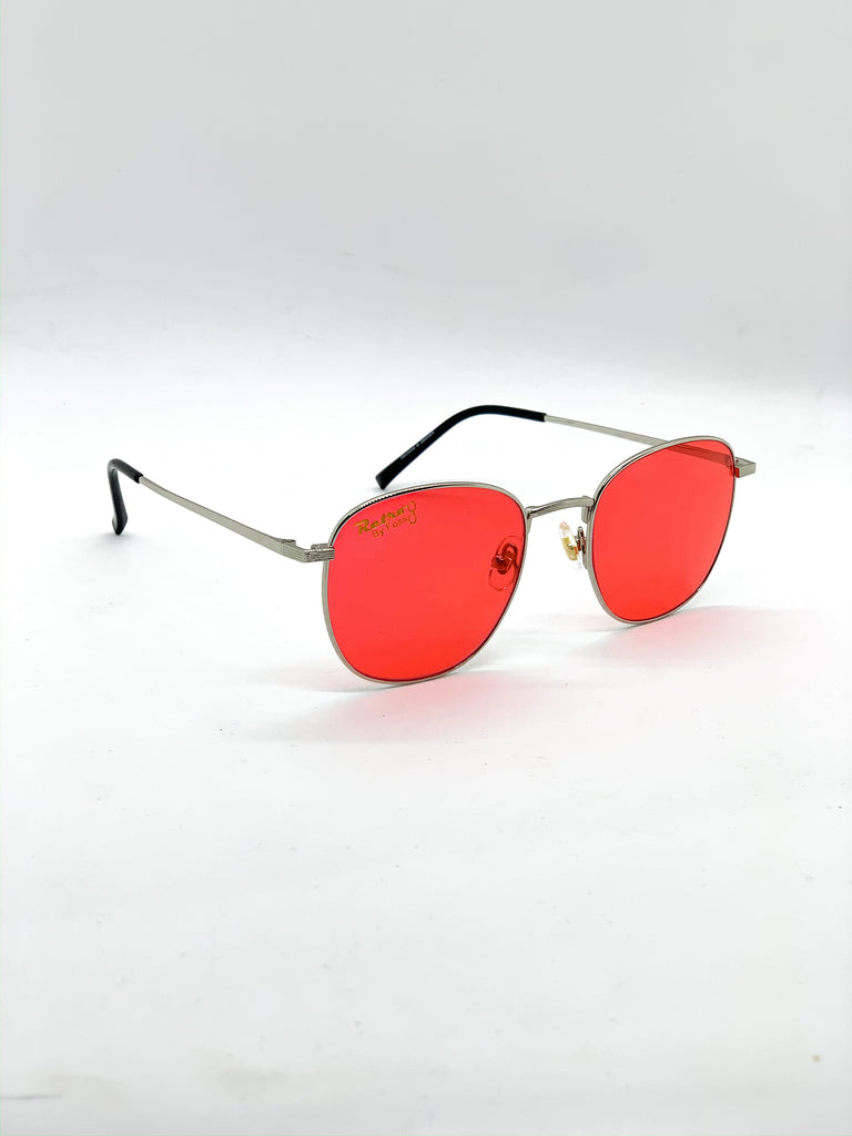 Red retro glasses fom a side