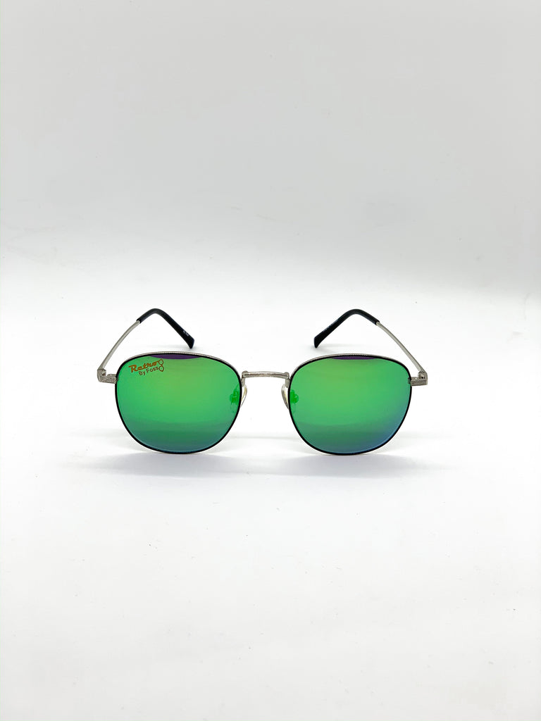 Flash green retro glasses fom the front