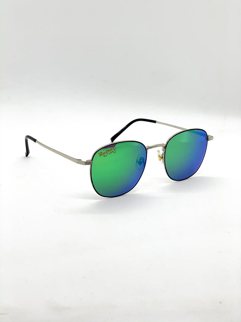 Flash green retro glasses fom a side