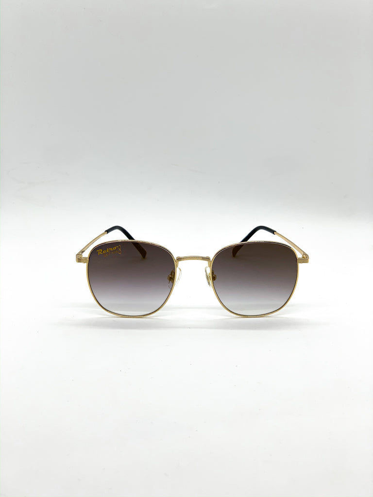 Faded brown retro glasses fom the front