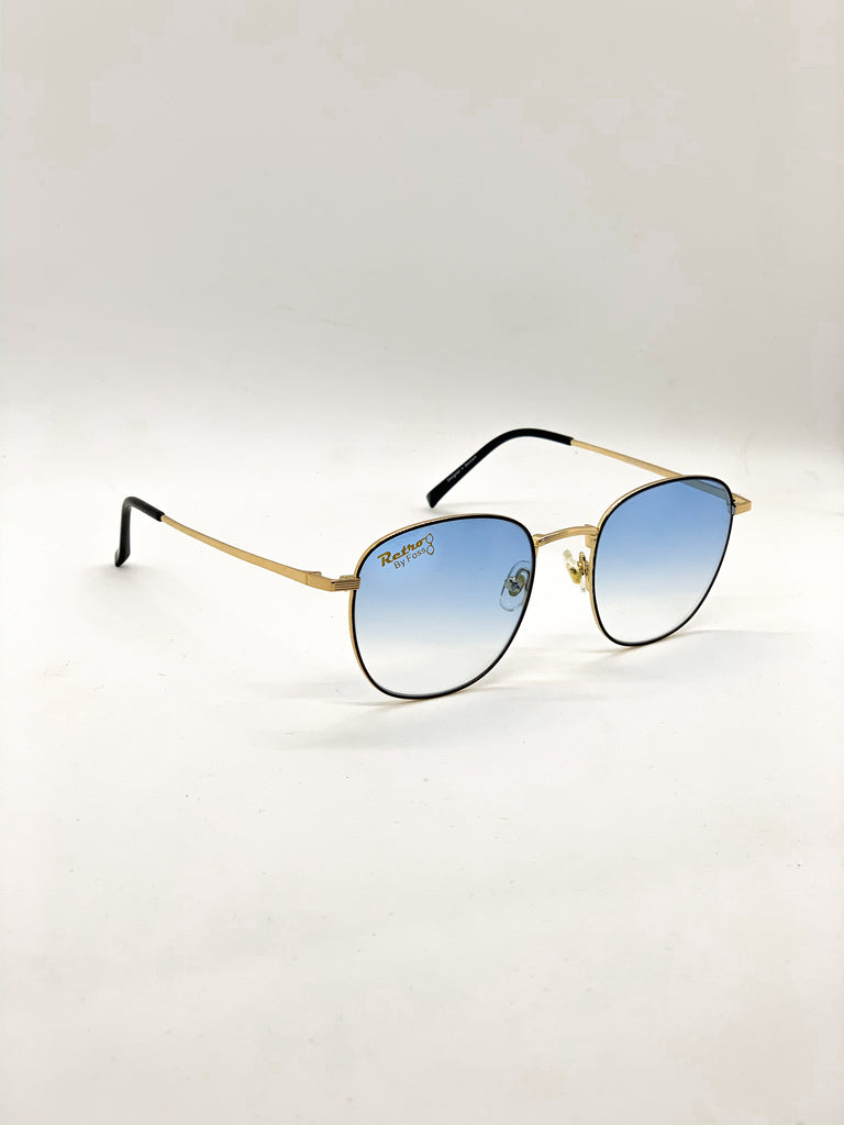 Faded blue retro glasses fom a side
