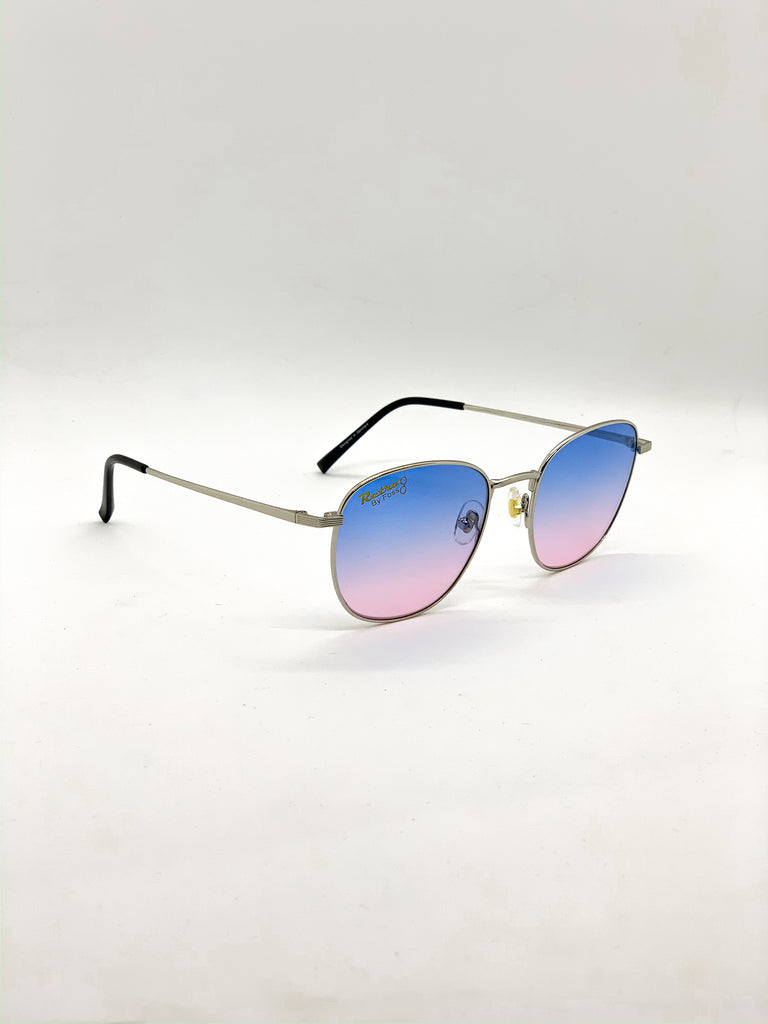 Blue & pink retro glasses fom a side