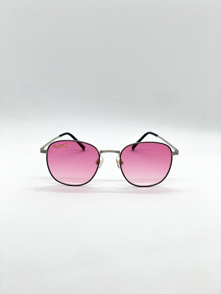 Faded pink retro glasses fom the front