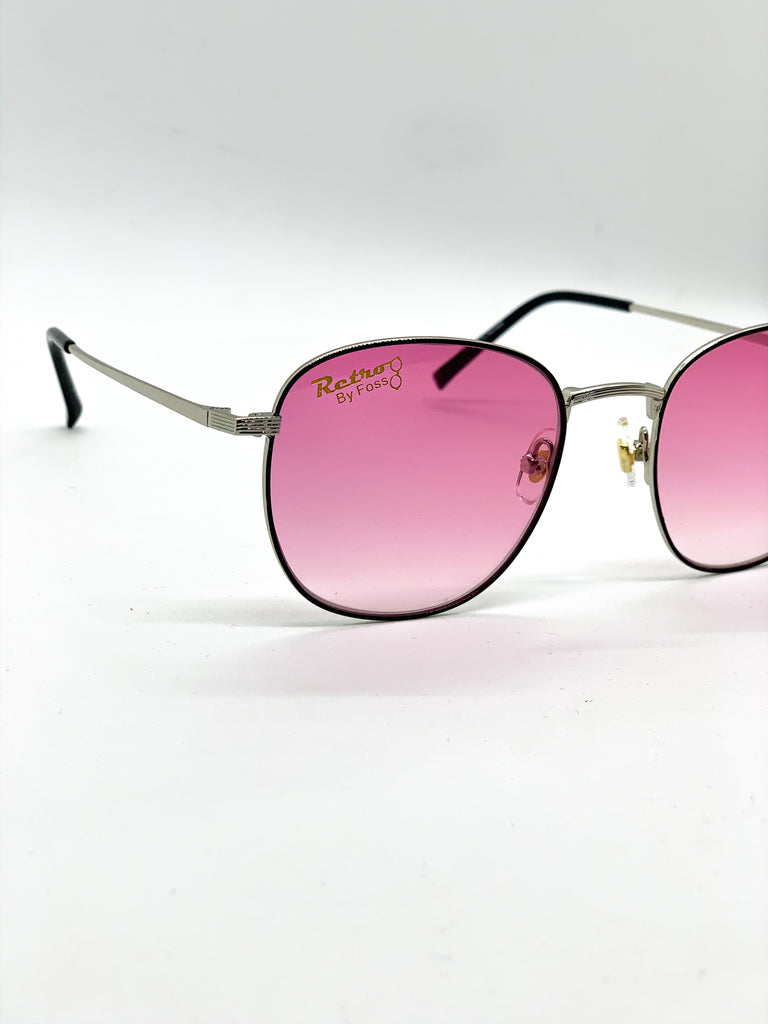 Faded pink glasses detail