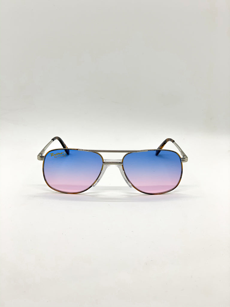 Blue & pink retro glasses fom the front
