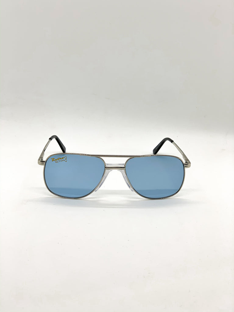 Old blue retro glasses fom the front