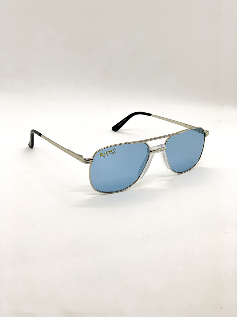 Old blue retro glasses fom a side