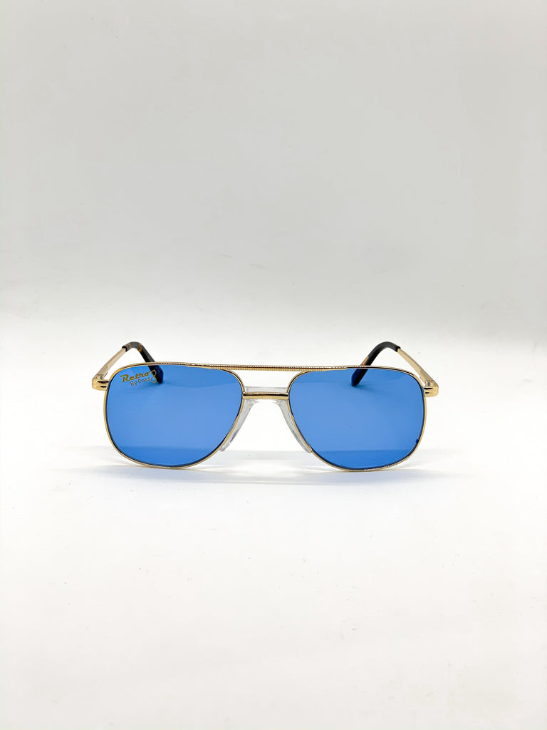 Blue retro glasses fom the front