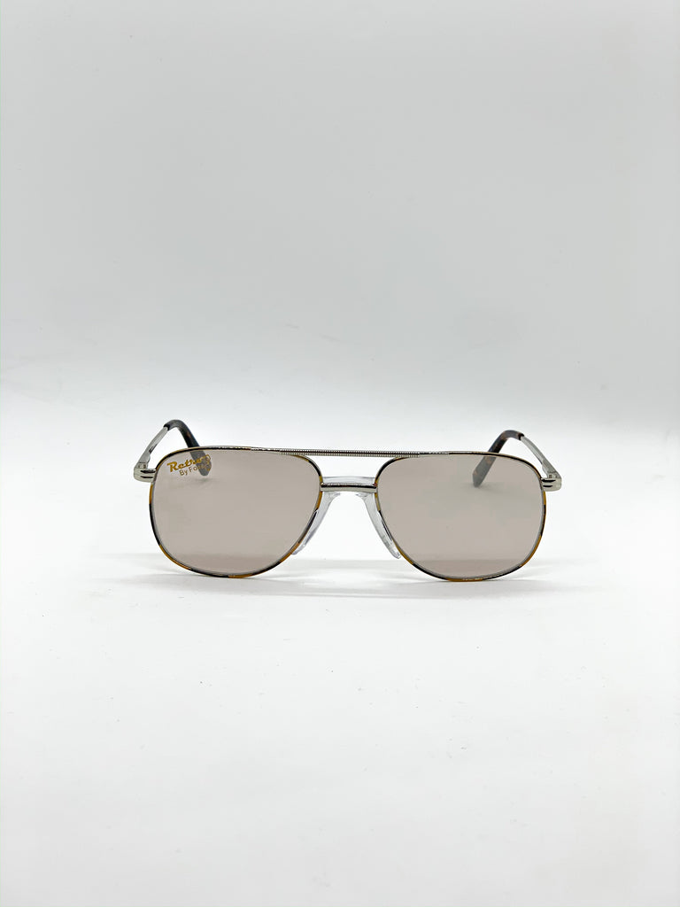 Grey retro glasses fom the front
