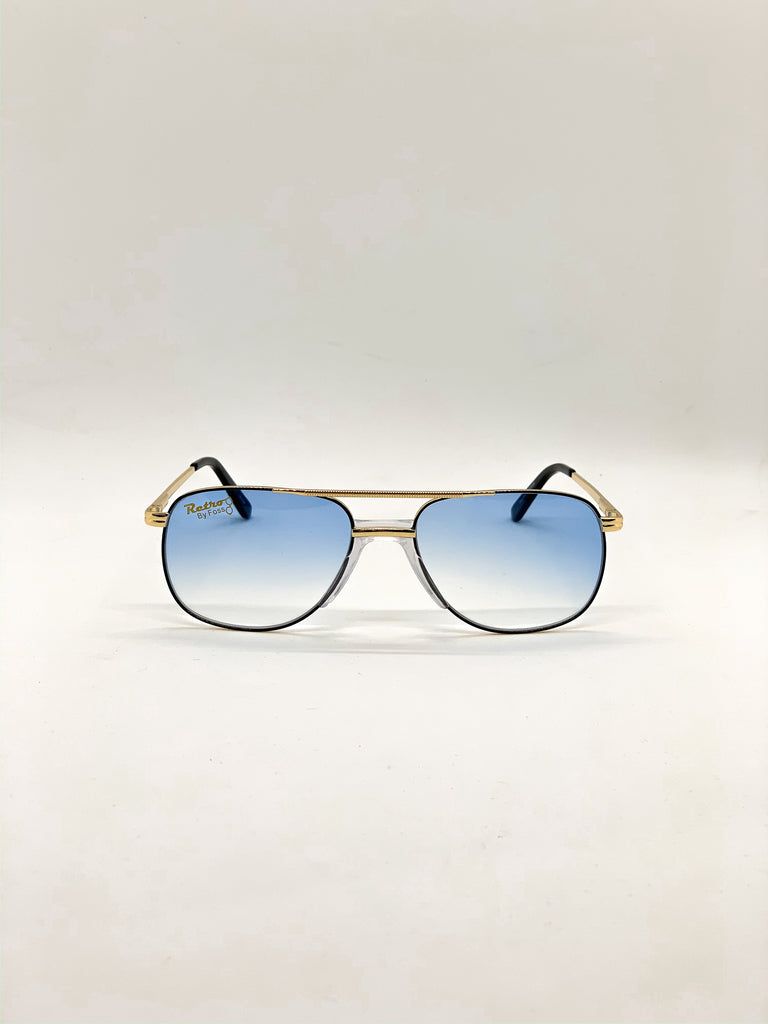 Faded light blue retro glasses fom the front
