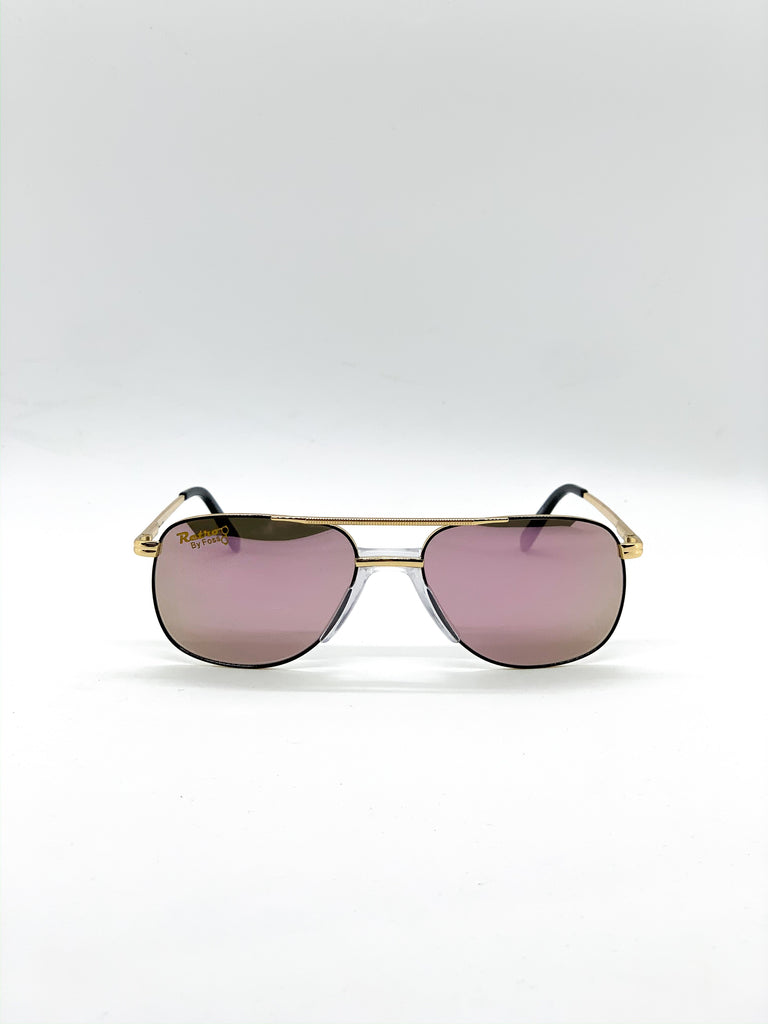 Flash pink retro glasses fom the front