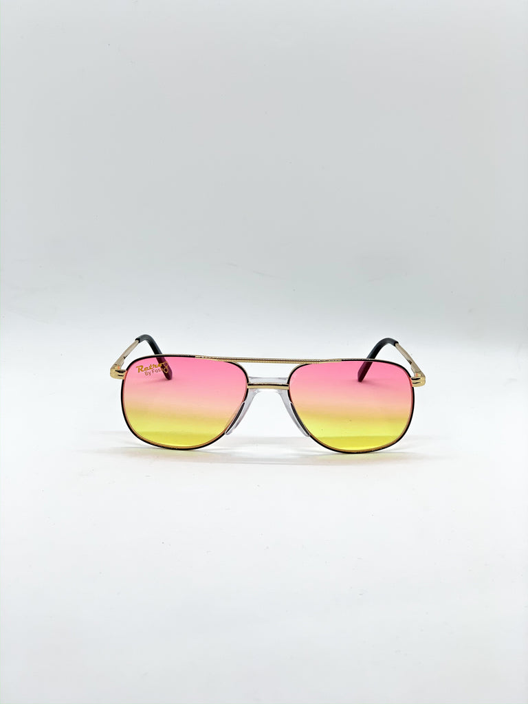 Pink & yellow retro glasses fom the front