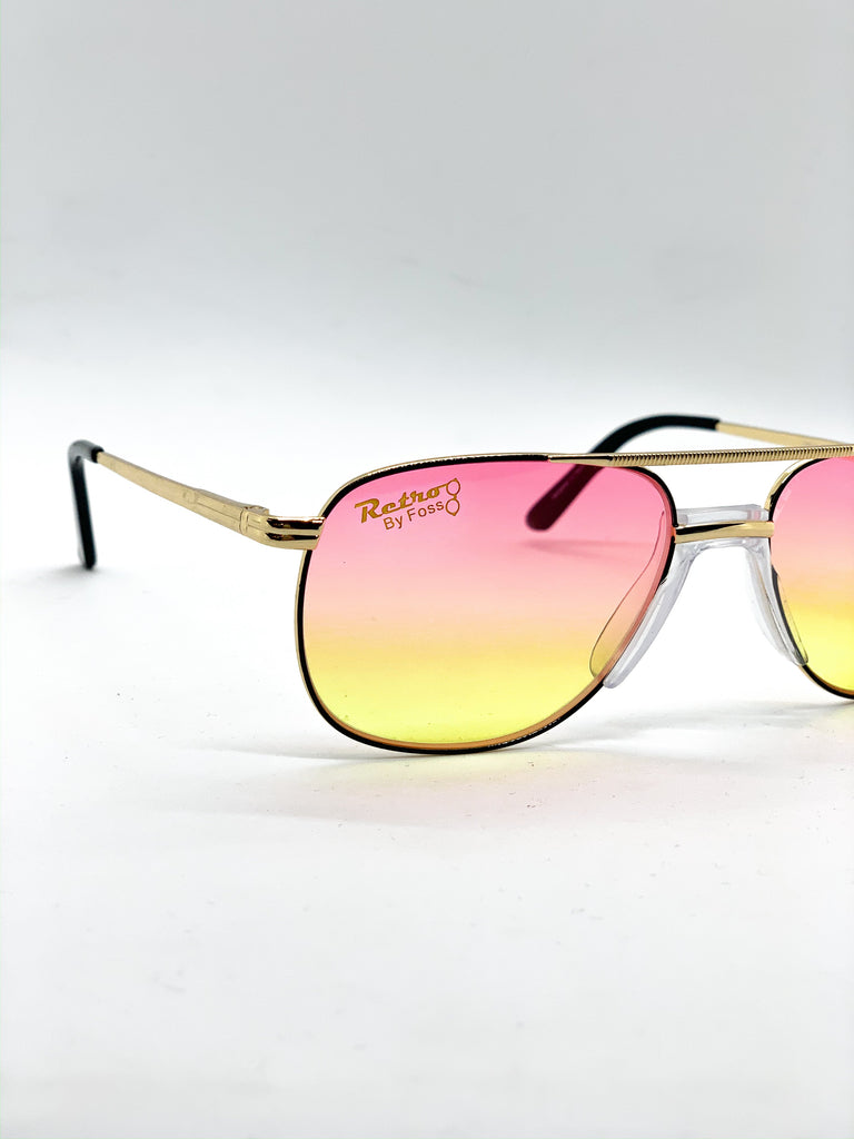 Pink & yellow retro glasses detail