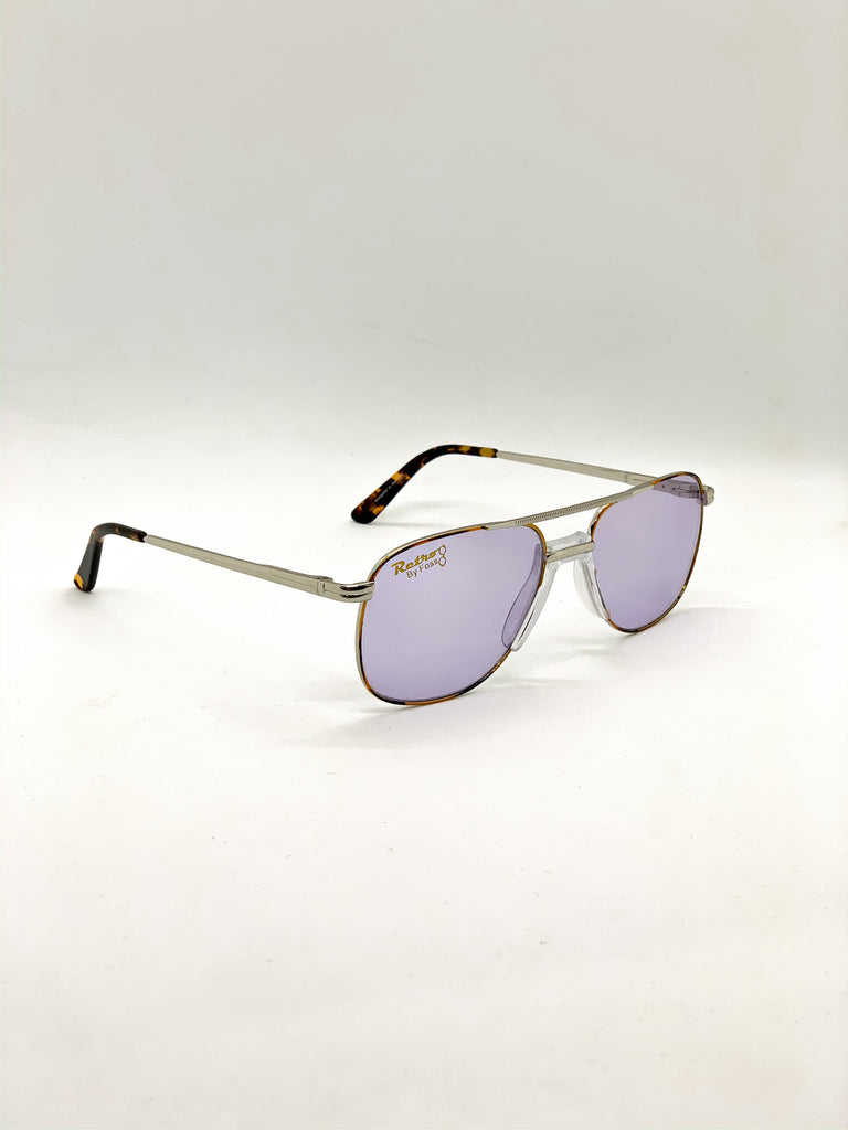 Light violet retro glasses fom a side
