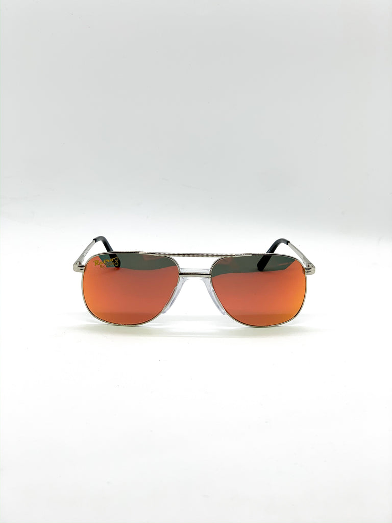 Flash orange retro glasses fom the front