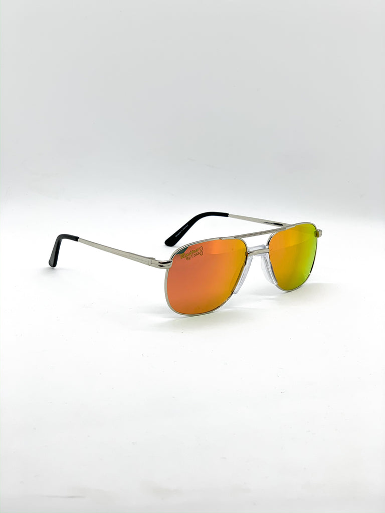 Flash orange retro glasses fom a side