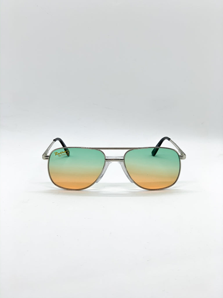Green & orange retro glasses fom the front