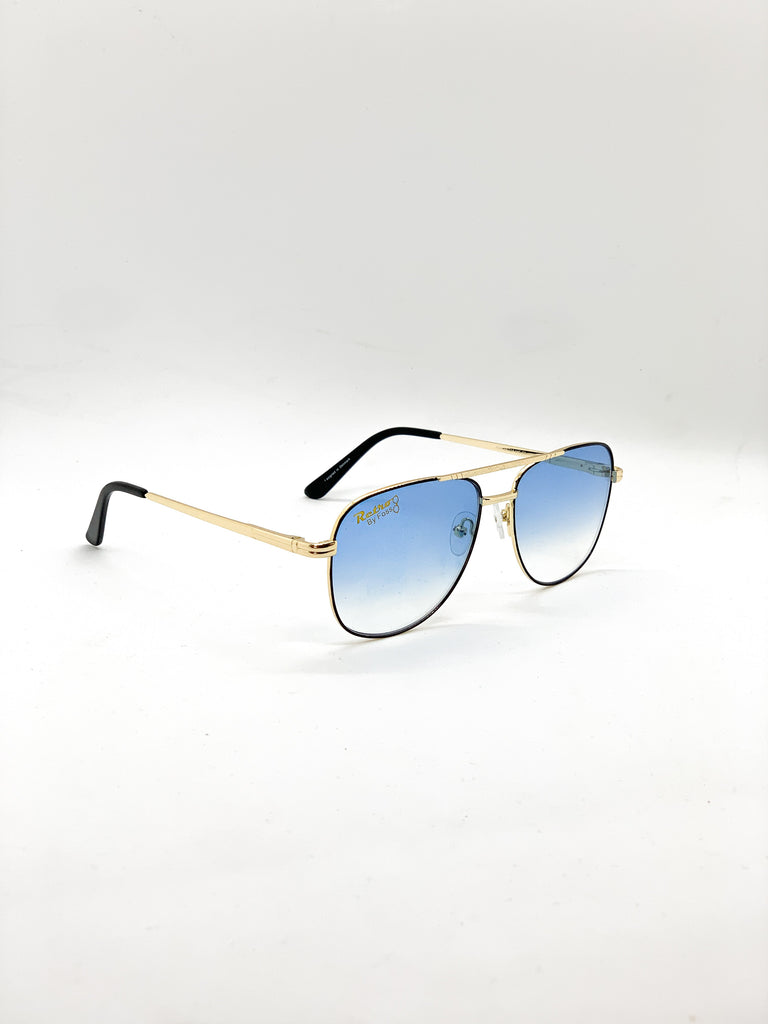 Blue retro glasses fom a side