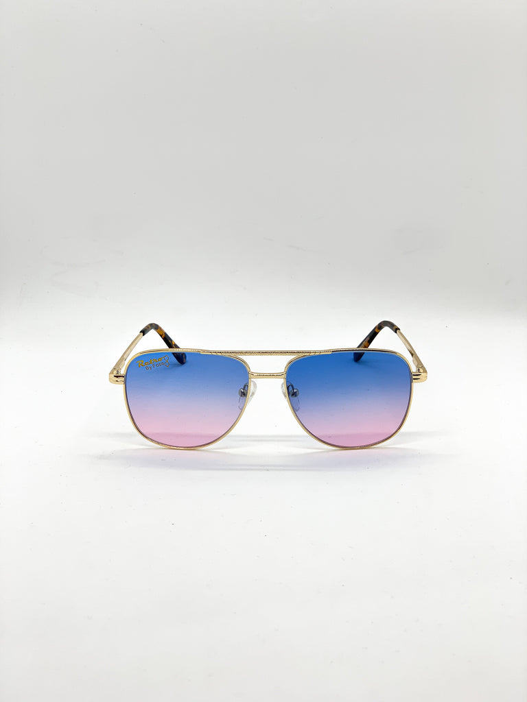 Blue-pink retro glasses fom the front