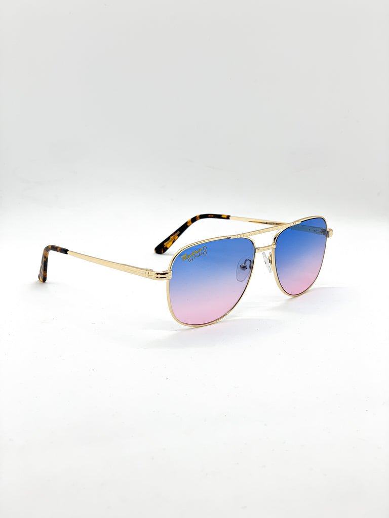 Blue-pink retro glasses fom a side