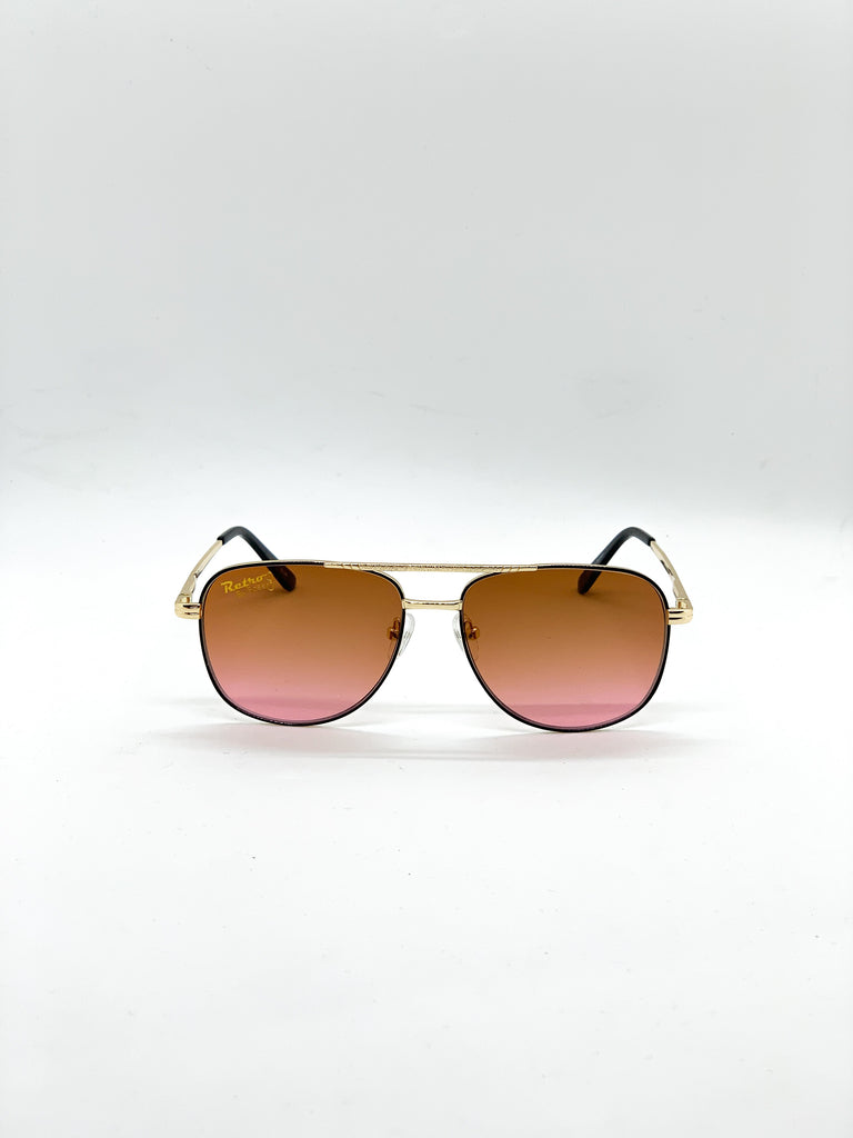 Orange-pink retro glasses fom the front