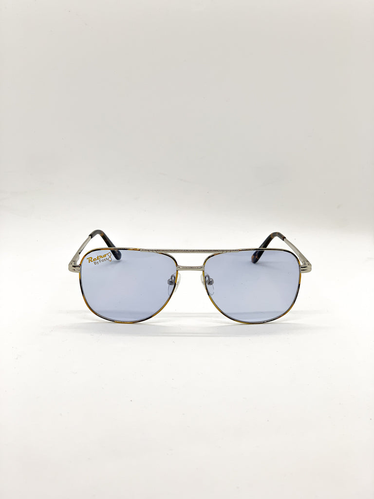Light blue retro glasses fom the front