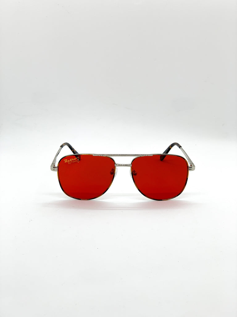 Dark red retro glasses fom the front