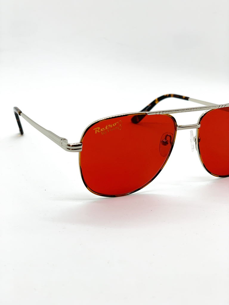 Dark red glasses detail