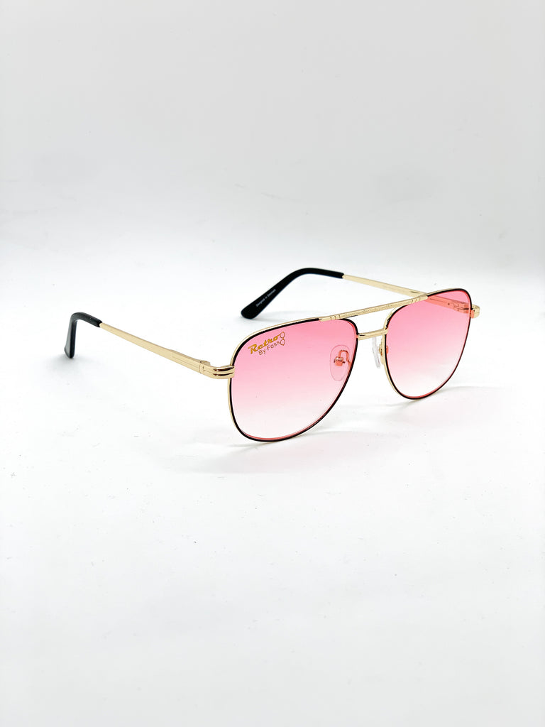 Pink blue retro glasses fom a side