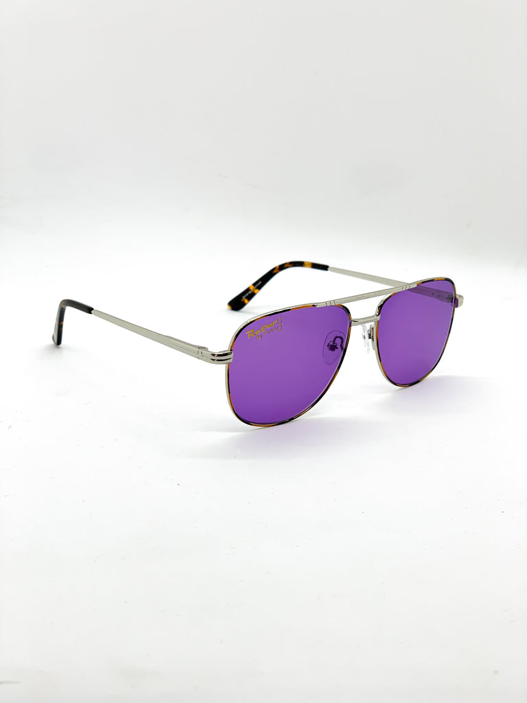 Violet blue retro glasses fom a side