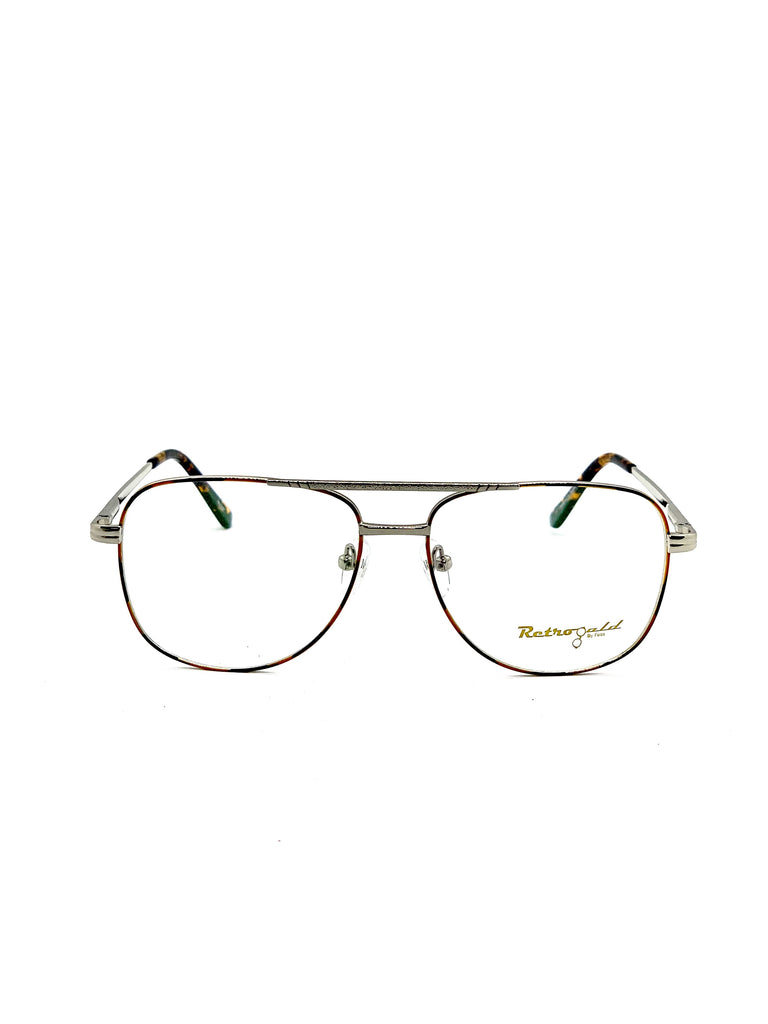 Silver and tartoise retro glasses fom the front