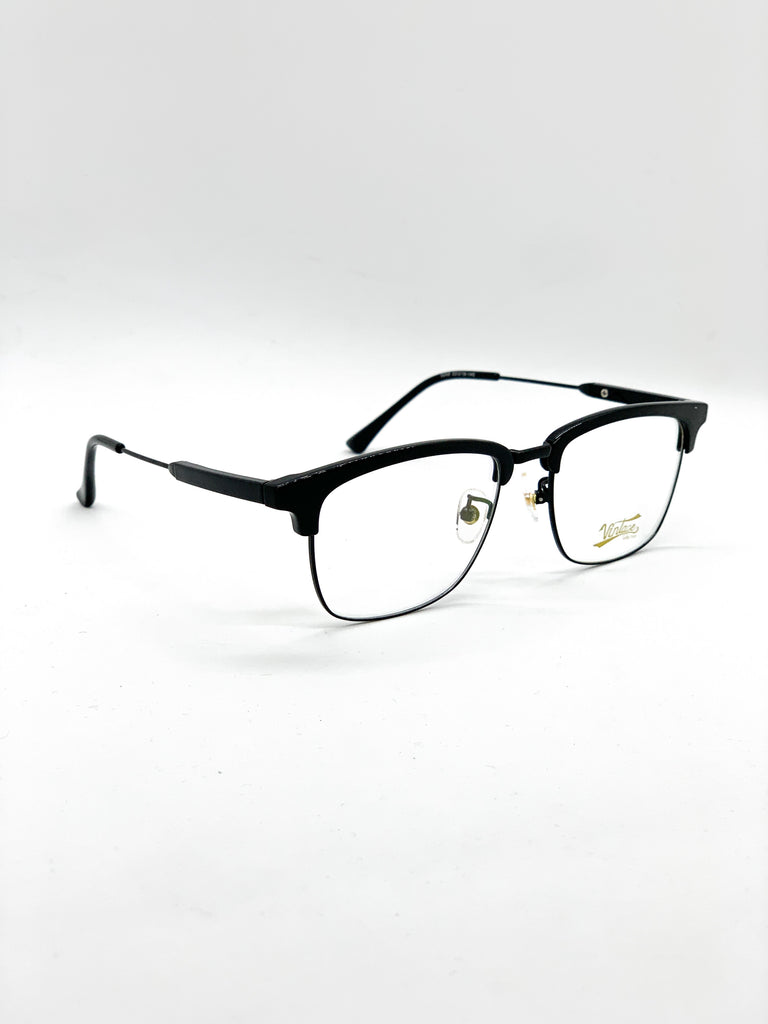 Black retro glasses fom a side